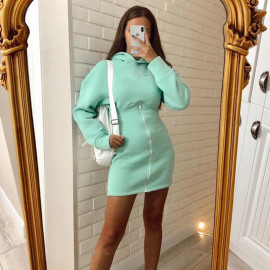 Women's Solid Color Long-sleeved Zipper Hooded Dress Nihaostyles Clothing Wholesale NSXPF73748