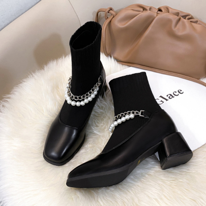 Mid-heel Knitted Short Boots Nihaostyles Clothing Wholesale NSYUS73776