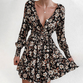 Women's Printed  V-neck Long-sleeved Pleated Dress Nihaostyles Clothing Wholesale NSYIS73773