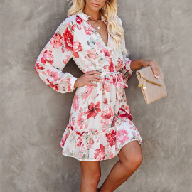 Women's Stand Collar Button Long-sleeved Dress Nihaostyles Clothing Wholesale NSYIS73772
