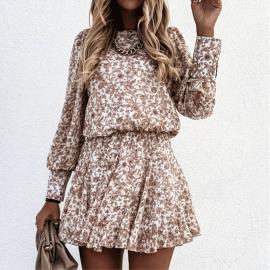 Round Neck Printing Long-sleeved Stitching Ruffle Dress Nihaostyles Wholesale Clothing Vendor NSYIS74948