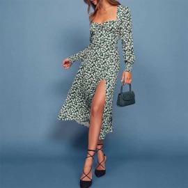 New Printed Square Neck Long Sleeve Irregular Dress Nihaostyles Wholesale Clothing Vendor NSYIS74947