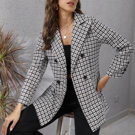 Houndstooth Lapel Long Sleeve Jacket Nihaostyles Clothing Wholesale NSJC74199