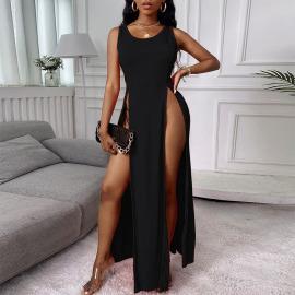Women's Split Hollow Sling Dress Nihaostyles Clothing Wholesale NSFR73840