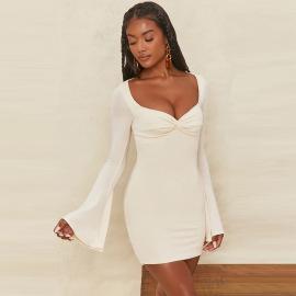 Women's Square Collar Trumpet Sleeve Dress Nihaostyles Clothing Wholesale NSFR73844