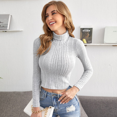 Women's High-neck Solid Color Pit Striped Pullover Long-sleeved Sweater Nihaostyles Clothing Wholesale NSLIH73858