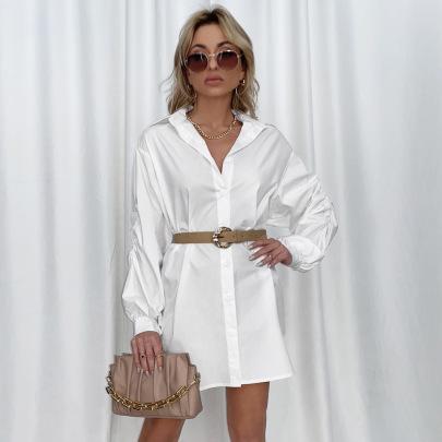 Women's Single-breasted Lapel Long-sleeved Dress Nihaostyles Clothing Wholesale NSLIH73875