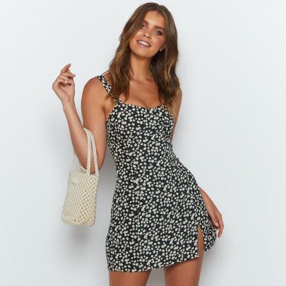 Women's Floral Sling Split Dress Nihaostyles Clothing Wholesale NSLIH73883