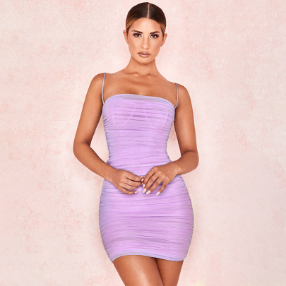Women's Solid Color Suspender Backless Chiffon Dress Nihaostyles Clothing Wholesale NSLIH73885