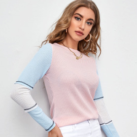 Women's Lace Round Neck Hollow Pullover Three-color Stitching Sweater Nihaostyles Clothing Wholesale NSLIH73887