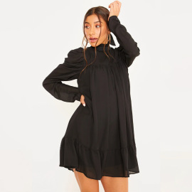 Women's Long-sleeved Stand-up Collar Pleated Casual Dress Nihaostyles Clothing Wholesale NSLIH73892