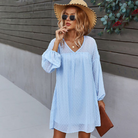 Women's V-neck Dress Nihaostyles Clothing Wholesale NSDY73905