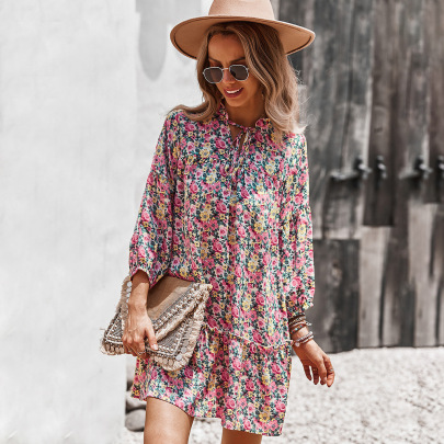 Women's Long-sleeved Printing Dress Nihaostyles Clothing Wholesale NSDY73911