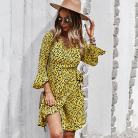 Women's Slimming Printed Long-sleeved Dress Nihaostyles Clothing Wholesale NSDY73913