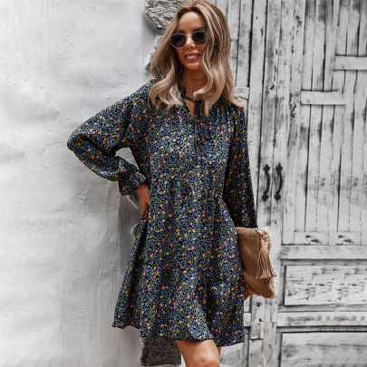 Women's Floral Printing Dress Nihaostyles Clothing Wholesale NSDY73914