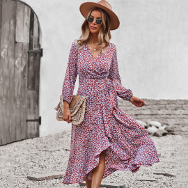 Women's Floral Dress With Wrapped Chest Strap And Large Swing Nihaostyles Clothing Wholesale NSDY73915