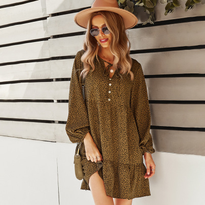 Women's Leopard Print Long-sleeved Loose A-line Dress Nihaostyles Clothing Wholesale NSDY73916