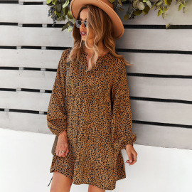 Women's Leopard Print Long-sleeved Loose Dress Nihaostyles Clothing Wholesale NSDY73917