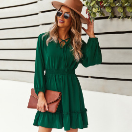 Women's Long-sleeved Solid Color A-line Dress Nihaostyles Clothing Wholesale NSDY73919