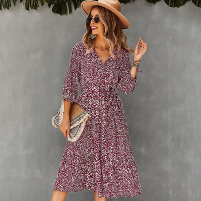 Women's Slimming Big Floral Dress Nihaostyles Clothing Wholesale NSDY73920