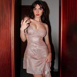 Women's Bright Silk Halter Strap Colorful Lace Oblique Hem Dress Nihaostyles Clothing Wholesale NSXPF73934