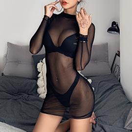 Women's Mesh Long-sleeved Hip-length Dress Nihaostyles Clothing Wholesale NSXPF73935
