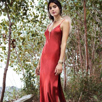 Women's Satin Silky Fabric Slit Open Back Suspender Dress Nihaostyles Clothing Wholesale NSXPF73936