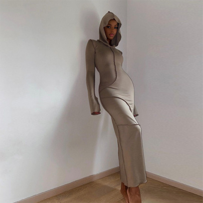Women's Solid Color Hooded Long-sleeved Dress Nihaostyles Clothing Wholesale NSXPF73945