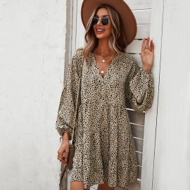 Women's Long-sleeved Leopard Print Dress Nihaostyles Clothing Wholesale NSDY73971