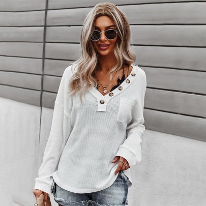 Women's V-neck Solid Color Knitted Top Long-sleeved Sweatshirt Nihaostyles Clothing Wholesale NSDY73979