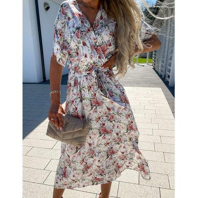 V-neck Waistband Printed Dress Nihaostyles Wholesale Clothing Vendor NSJIM74945