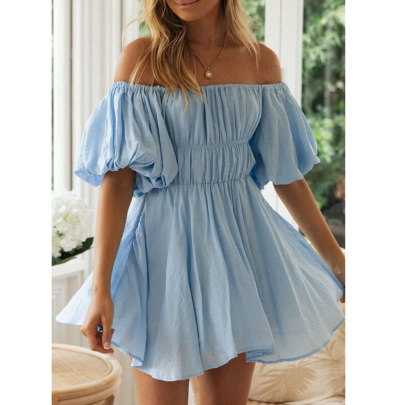 Collar Strapless Puff Sleeve Elastic Waist Dress Nihaostyles Wholesale Clothing Vendor NSJIM74944