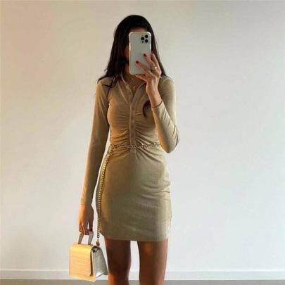 Fashion Texture Single-breasted Lapel Long-sleeved Dress Nihaostyles Wholesale Clothing Vendor NSXPF74017