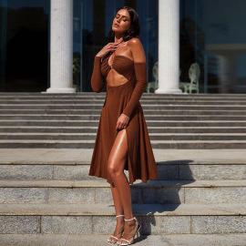 Women's Halter Neck Long-sleeved Open Back Split Dress Nihaostyles Clothing Wholesale NSXPF74043