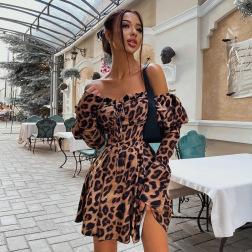 Women's Long-sleeved Low-cut Leopard Print Dress Nihaostyles Clothing Wholesale NSXPF74048