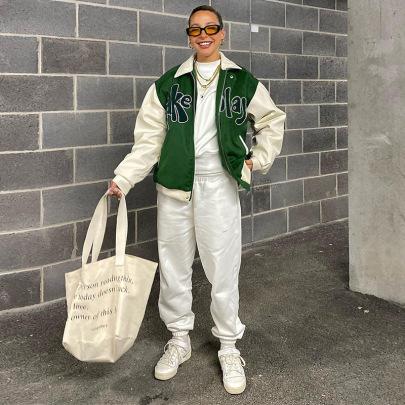 Women's Lapel Long-sleeved Loose Printing Baseball Jacket Nihaostyles Clothing Wholesale NSXPF74047