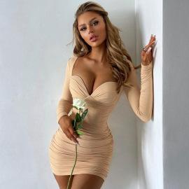 Women's Long-sleeved Square Neck Low-cut Slim-fit Dress Nihaostyles Clothing Wholesale NSXPF74059