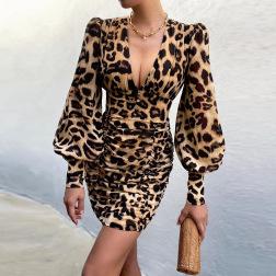 Women's Single-breasted Low-cut Print Slim Dress Nihaostyles Clothing Wholesale NSXPF74065