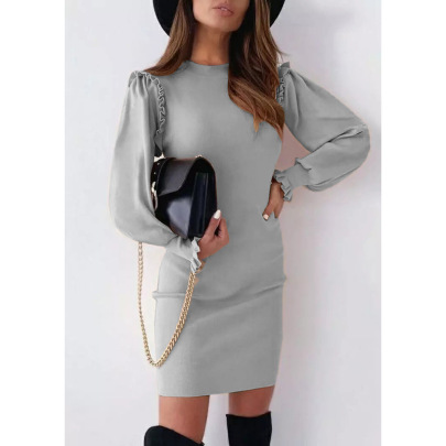 Women's Solid Color Round Neck Slim Dress Nihaostyles Clothing Wholesale NSLZ74066