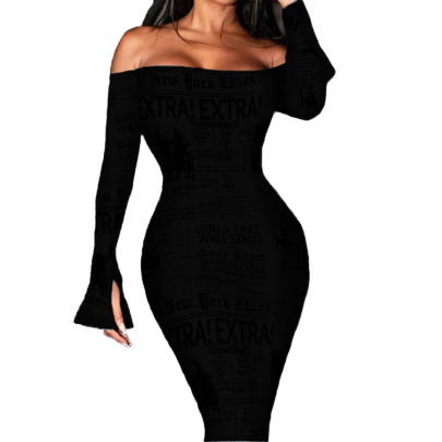 Women's A Word Neckline Snake Print Long-sleeved Dress Nihaostyles Clothing Wholesale NSBTY74082