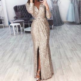 Ladies' V-neck Shiny Evening Dress Nihaostyles Clothing Wholesale NSBTY74090