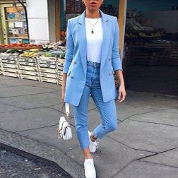 Women's Lapel Mid-length Suit Jacket Nihaostyles Clothing Wholesale NSBTY74091