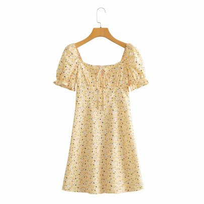 Retro Floral Puff Sleeve Square Neck Dress Nihaostyles Wholesale Clothing Vendor NSAM74099