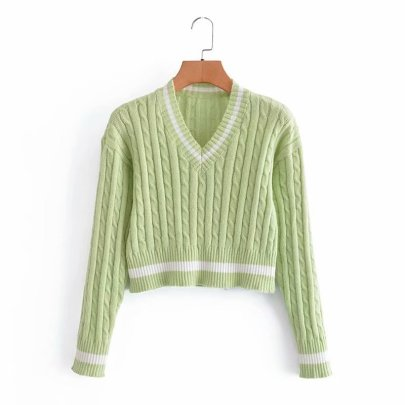 V-neck Twist Woven Color Matching Slim Thin Pullover Knitted Sweater Nihaostyles Wholesale Clothing Vendor NSAM74100