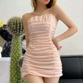 New Sling Pleated Short Dress Nihaostyles Wholesale Clothing Vendor NSAM74111