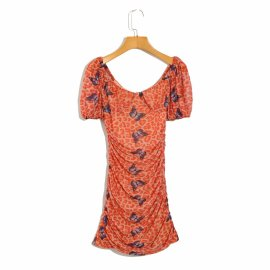 Low-cut Square Neck Short-sleeved Printed Pleated Dress Nihaostyles Wholesale Clothing Vendor NSAM74117