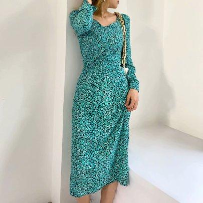 Printed Puff Sleeve Midi Split Dress Nihaostyles Wholesale Clothing Vendor NSAM74122