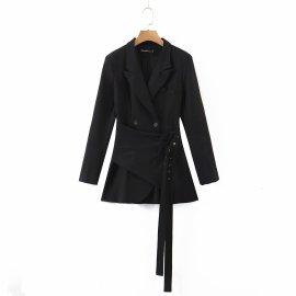 Double Belt Small Suit Jacket Irregular Fake Two-piece Suit Coat Nihaostyles Wholesale Clothing Vendor NSAM74126