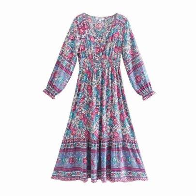 Positioning Printing Rayon V-neck Dress Nihaostyles Wholesale Clothing Vendor NSAM74129