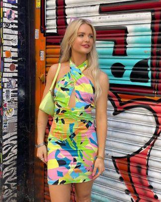 Retro Printing Halterneck Dress Nihaostyles Wholesale Clothing Vendor NSAM74135